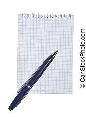 nota, caneta, almofada, espiral