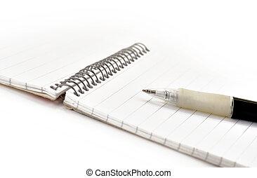nota, caneta, almofada