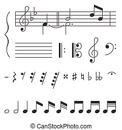 nota, chiave, vettore, elementi, musica