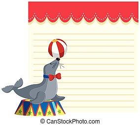 nota, circo, sagoma, sigillo