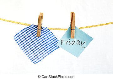 nota, coloró papel, con, el, palabra, viernes