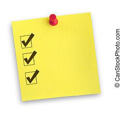 nota, com, completado, lista de verificação