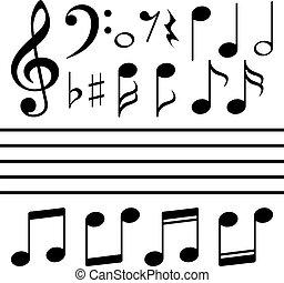 nota, conjunto, vector, música, iconos