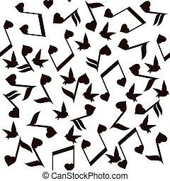 nota, corações, música