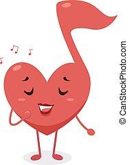 nota, corazón, mascota, musical, cantar