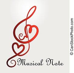 nota, cuori, musicale