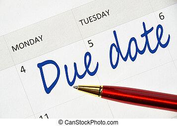 nota, data, calendario, dovuto