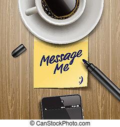 nota de palo, con, marcador, taza para café, y, tableta