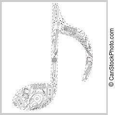 nota, desenhado, elementos, música, mão