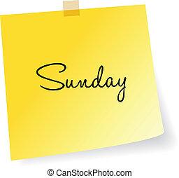 nota, domenica, giallo, appiccicoso