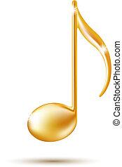 nota, dourado, sinal., música