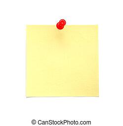 nota, em branco, amarela, pegajoso