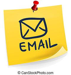 nota, email, pegajoso