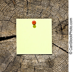 nota, en, de madera, plano de fondo