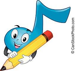 nota, escribir, música, ilustración, mascota