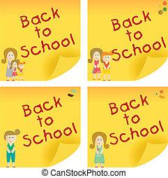 nota, escuela, espalda, pegajoso