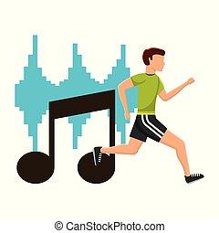 nota, executando, desporto, musical, exercício, homem