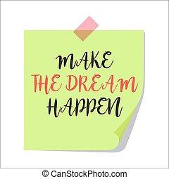 nota, fazer, papel, sonho, happen
