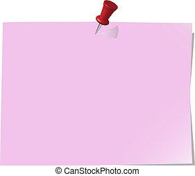 nota, fixado, papel, redbud