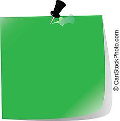 nota, fixado, papel, verde