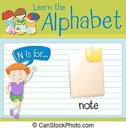 nota, flashcard, lettera n