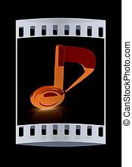 nota, fondo., nero, striscia, musicale, film, 3d