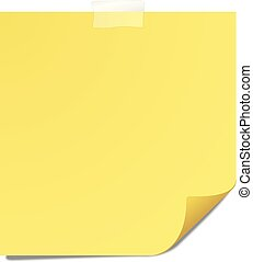 nota, giallo, appiccicoso