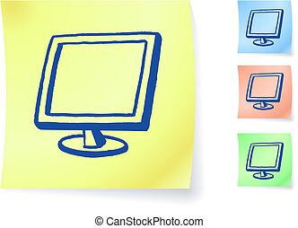 nota, gráfico, monitor computador, pegajoso