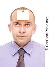nota, homem negócios, cabeça, seu, fixado