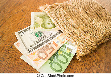 nota, internazionale, valute, banca, sacco