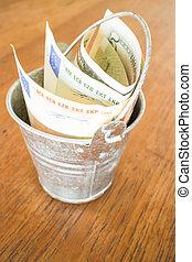 nota, internazionale, valute, secchio, banca