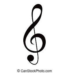 nota, isolado, g-clef, musical