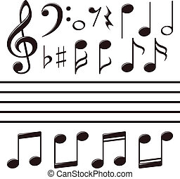 nota, jogo, vetorial, música, ícones