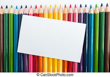 nota, lápices, color, papel, plano de fondo