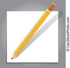 nota, lápis, branca, papel
