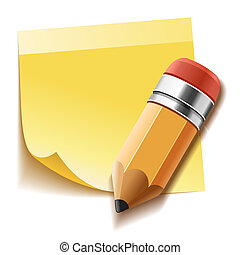 nota, lápiz, palo, amarillo, realista