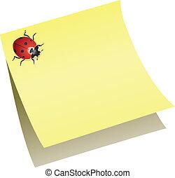 nota, ladybird, papel, vetorial