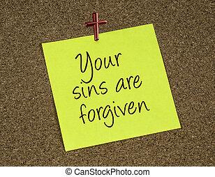 nota, lembrete, forgives, declaração, jesus