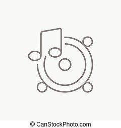 nota, linea, musica, icon., altoparlanti