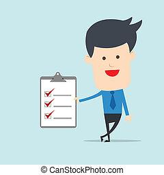 nota, lista de verificação, homem, negócio, mostrar