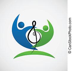 nota, logotipo, trabajo en equipo, musical