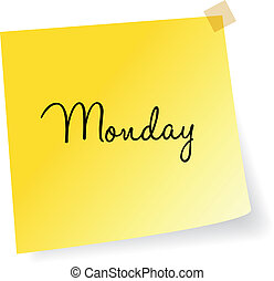 nota, lunedì, giallo, appiccicoso