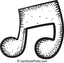 nota, música, ícone