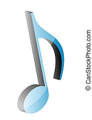 nota, música, 3d