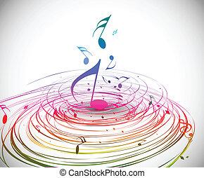 nota música, coloridos