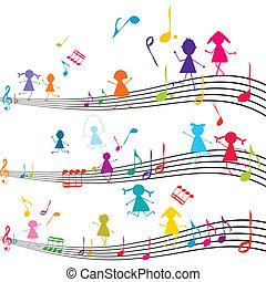 nota música, com, crianças, tocando, com, a, partituras