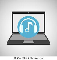 nota, Música, computador portatil, auriculares, tecnología