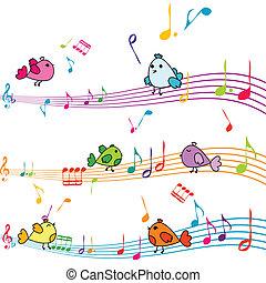 nota música, con, caricatura, aves, canto