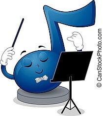 nota, música, conductor, mascota