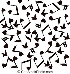 nota música, corazones